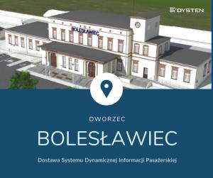 Dworzec PKP Bolesławiec z tablicami informacji pasażerskiej dla kolei DYSTEN