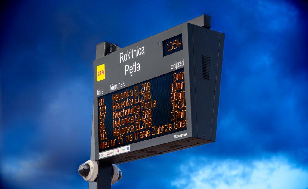 tablica dynamicznej informacji pasażerskiej, elektroniczna tablica na przystanku